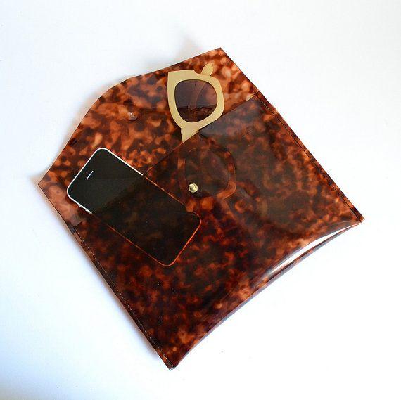 Tortoiseshell vinyl plastic Sarah envelope clutch by goldenponies