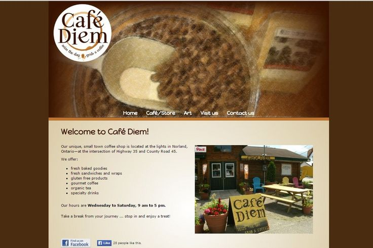 One of my favourite web designs. It's not responsive yet, but I love the layout and top banner. And the coffee theme, of course! This is a great little coffee shop in Norland, Ontario.