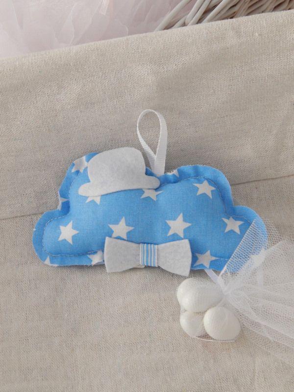 Κρεμαστή μπομπονιέρα βάπτισης - Χειροποίητο υφασμάτινο συννεφάκι με καπελάκι και παπιγιόν.