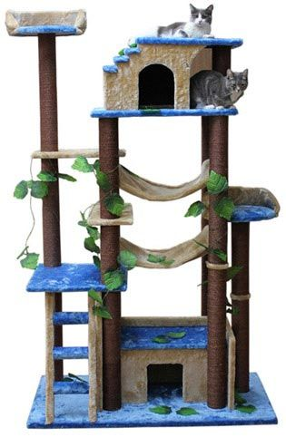 Castle Cat Tree House in Beige/Brown/Blue color #TreeCheap - Stylendesigns.com
