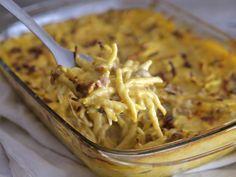 Trofie+al+forno+con+crema+di+zucca+e+salsiccia