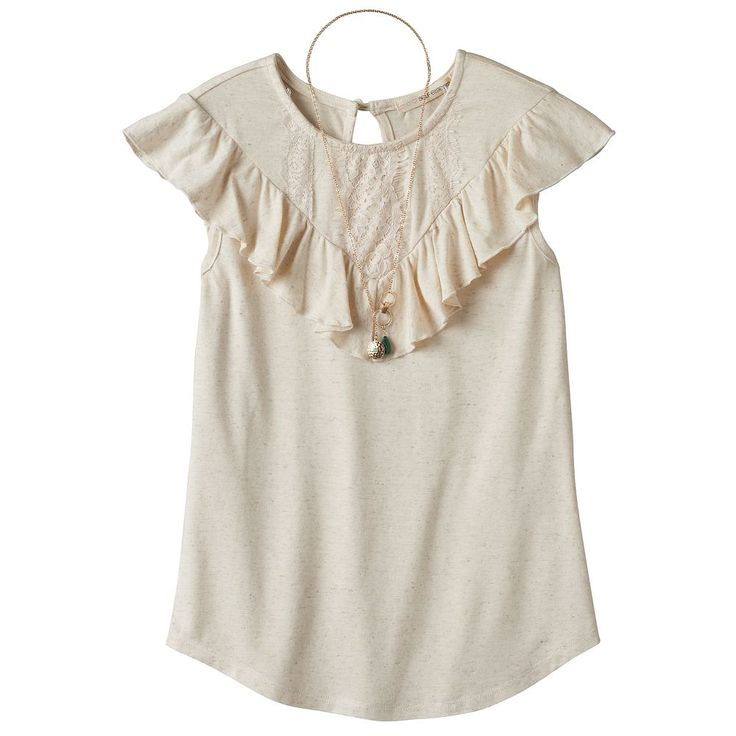 Girls 7-16 & Plus Size Self Esteem Crochet Lace Flounce Overlay Top with Necklace, Size: Medium, White Oth