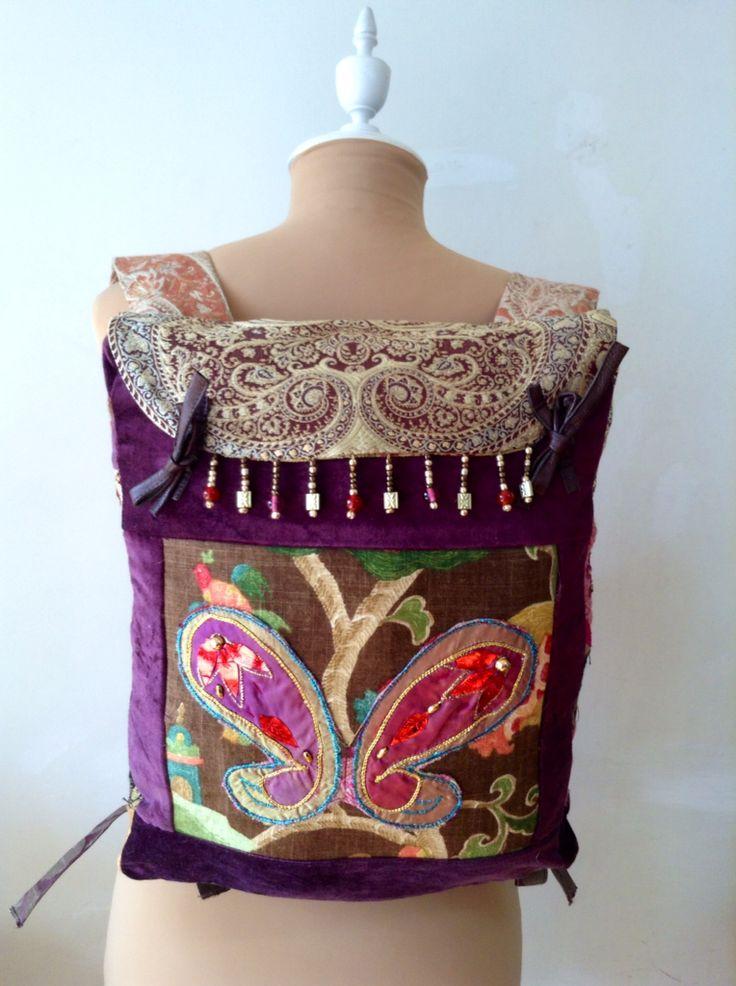 Mochila de tela,lino y brocado de algodón y seda.