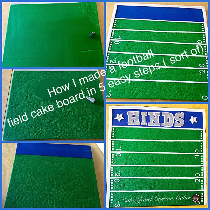 Step by step process on making a football field cake board.