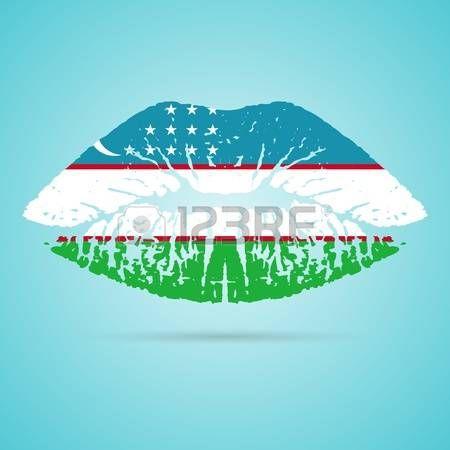 Uzbekistan Flag Lipstick On The Lips Vector