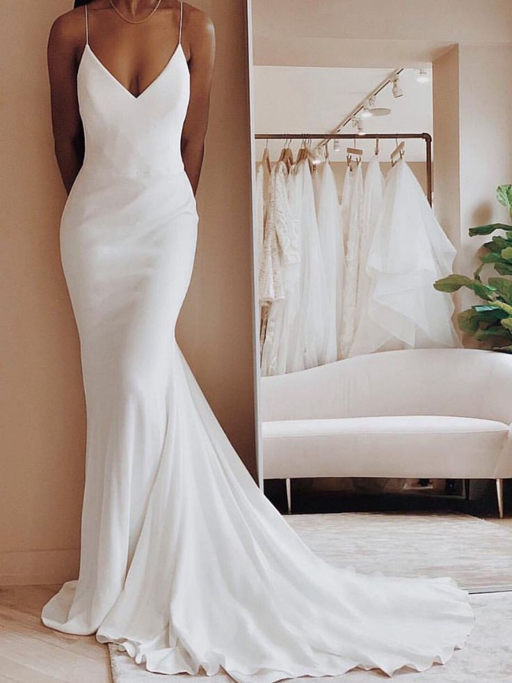 Long Ivory Satin Spaghetti Strap V-Neck Mermaid Formal Dress With Sweep Train from Queenparty 9