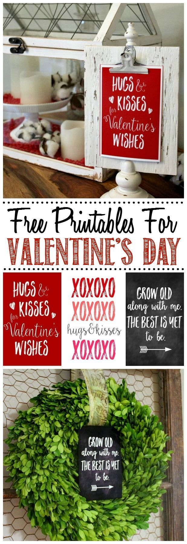 Great collection of free Valentine's Day printables and some cute ways to display them for some unique Valentine's Day decor.