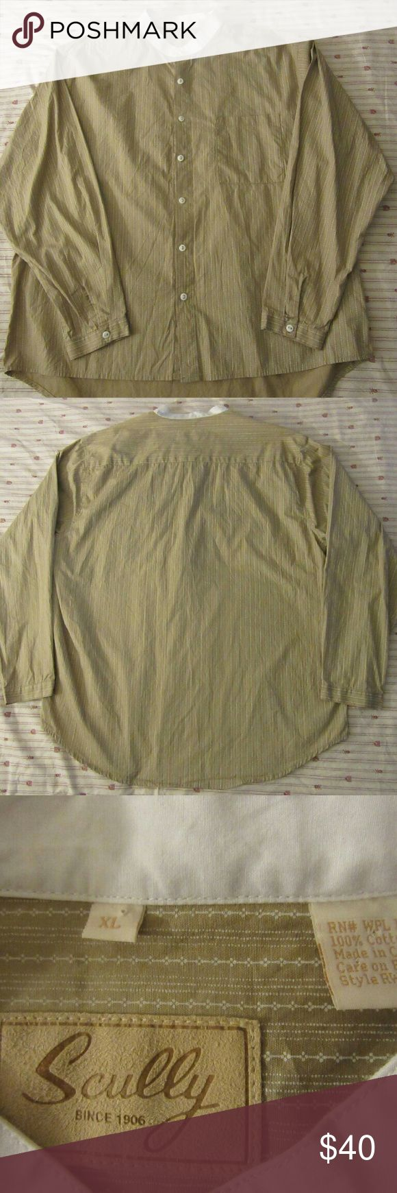 mens scully western dress shirt XL good ?shape: little stain shown in pic ?could be cleaned  mens scully western dress shirt XL  pit to pit 27  shoulder to cuff 25  shoulder to shoulder 21  top to bottom 33 Scully Shirts Casual Button Down Shirts