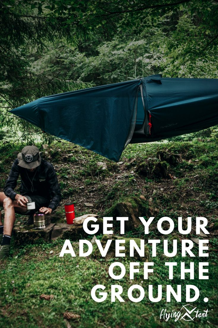 Looking for a alternative to a tent? The flying tent hammock tent packs light, sets up easy and provides a reliable, open sleeping area up off the ground with a fine mesh bug net for protection. The removable 30 DN ripstop nylon rainfly is strong and provides optimum rain protection. #Camp #hammockcamping