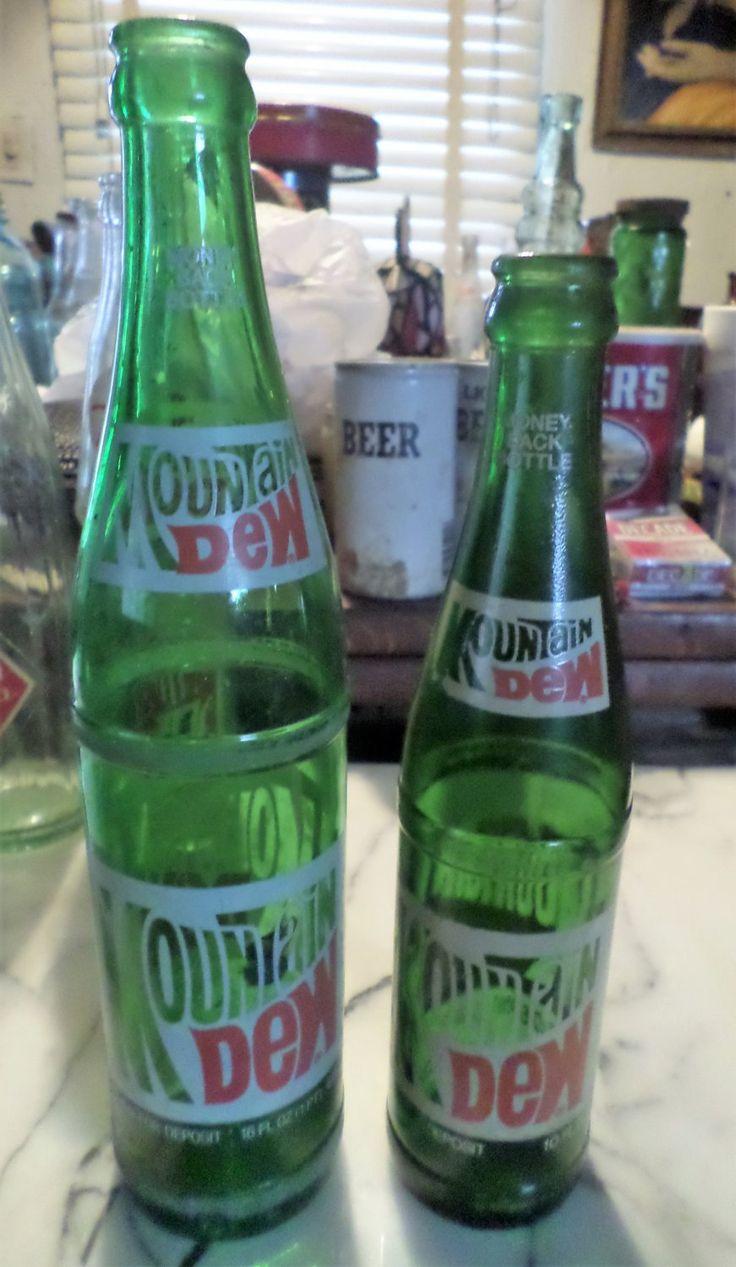2+Vintage+1970s+Mountain+Dew+soda+bottles.+one+16oz.,+one+