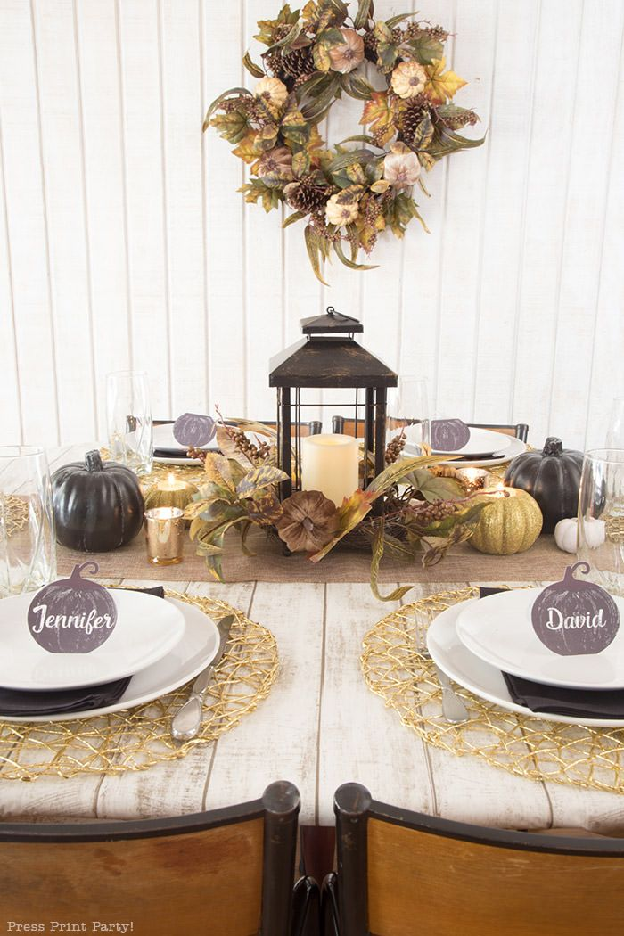 Stunning Golden Farmhouse Decorations For Thanksgiving Table Thanksgiving Table Decorations Gold Thanksgiving Table Dinner Table Decor