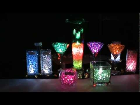 Party Centerpieces | LED Submersible Lights with Polymer Water Beads