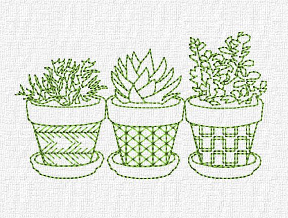 Succulents redwork embroidery machine design instant