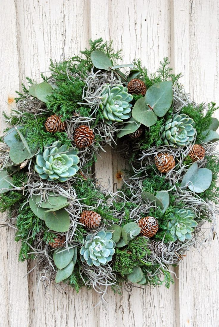 Moss and Eucalyptus and Sedum and Pine Cones Wreath :: White Ranunkler