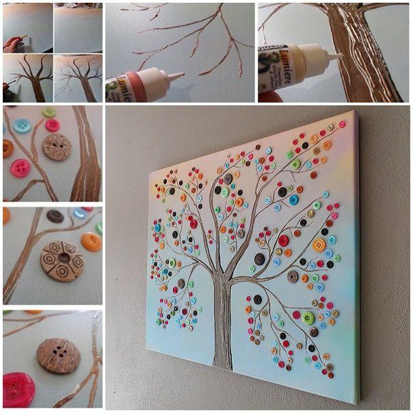 "DIY For the Day ""Vibrant Button Tree Canvas Wall Art..."" #teelieturner #DIY #teelieturnershoppingnetwork   www.teelieturner.com"