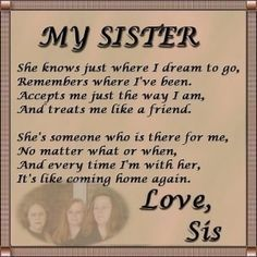 Image for I Love You Sister Quotes And Poems The Best