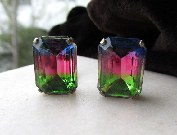 Art Deco Earrings Multi Colored Glass Facets by tropicalcreations, $13.99