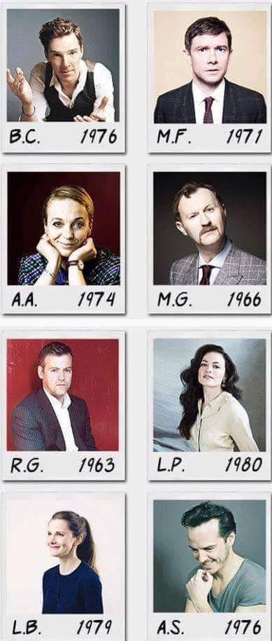 Date established. Poor Rupert is the oldest :)>>> But Mark Gatiss looks older than Rupert Graves. Poor Mark!