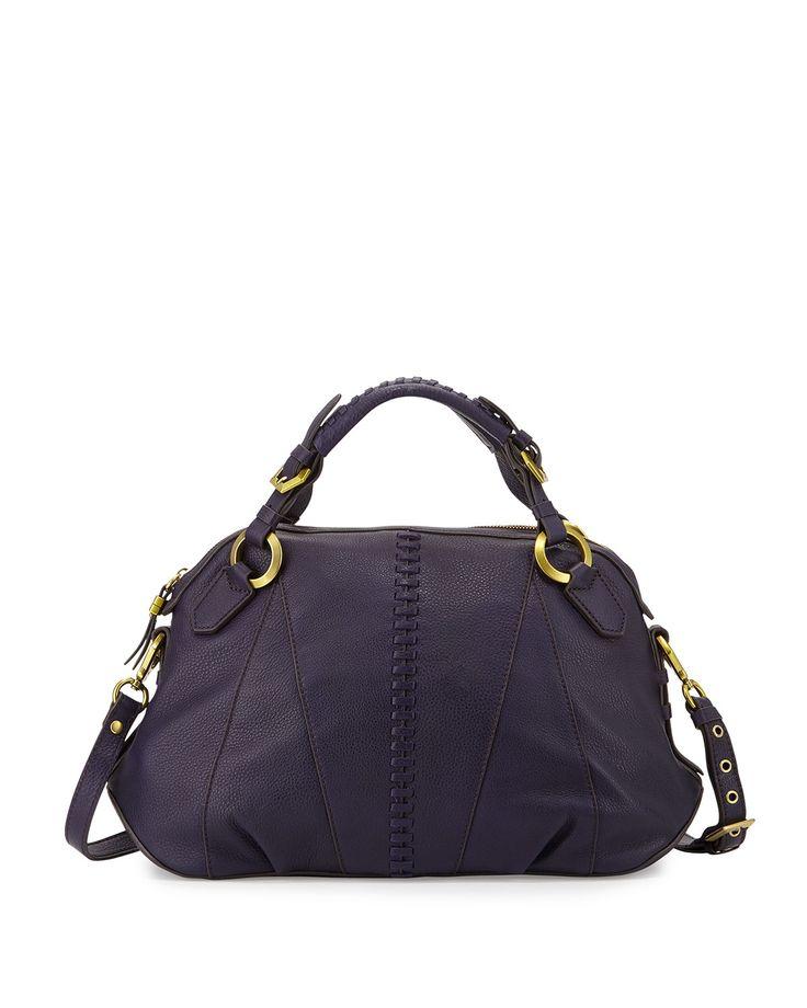 Daria In Leather: Oryany Daria Leather Satchel Bag, Purple