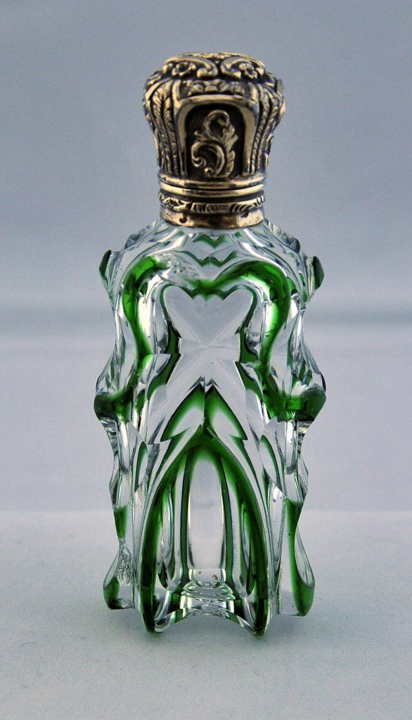 Late19th C. English Clear Glass Perfume Bottle with Green Overlay & Silver Top