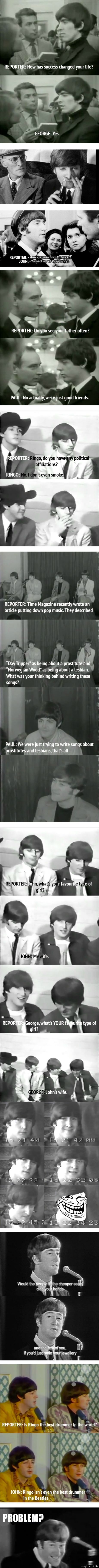 Problem? - The Beatles, those cheeky devils. You gotta love them. <3   #Beatles #Quiz