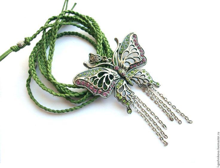 """Купить Кулон """"Полёт бабочки"""" - универсальное украшение - комплект украшений, подарок девушке, подарок женщине"""