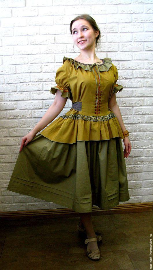 Платья ручной работы. Ярмарка Мастеров - ручная работа. Купить Летнее платье из хлопка. Handmade. Оливковый, платье легкое