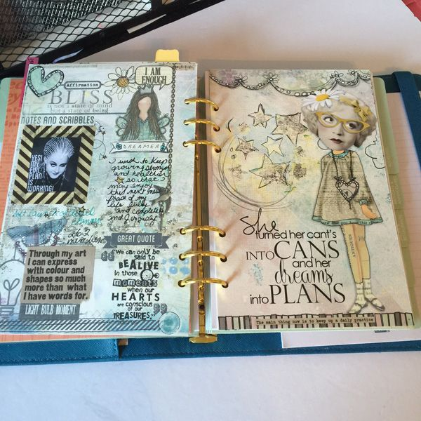 My artful planner created using digital scrapbooking and mixed media products, printed and then sometimes embellished further with tangible products, doodles, drawings etc. Join the Art Journal Club on Facebook and join in on the fun!! #planners #planner #artjournal #artfulplanner #artfulplannerclub