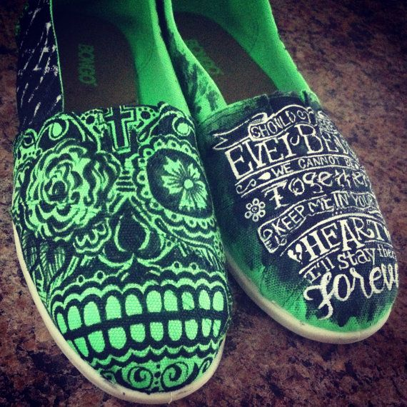 "Hand painted Sugar Skull custom ""toms"" style canvas shoes. Unique, Great gift idea Size 9 RTS on Etsy, $80.00"