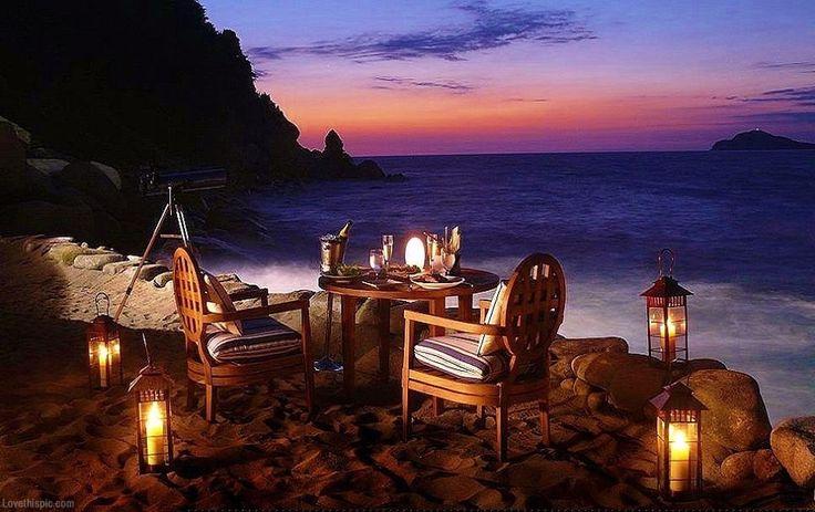 Romantic Dining On The Beach Night Sunset Beach Romantic