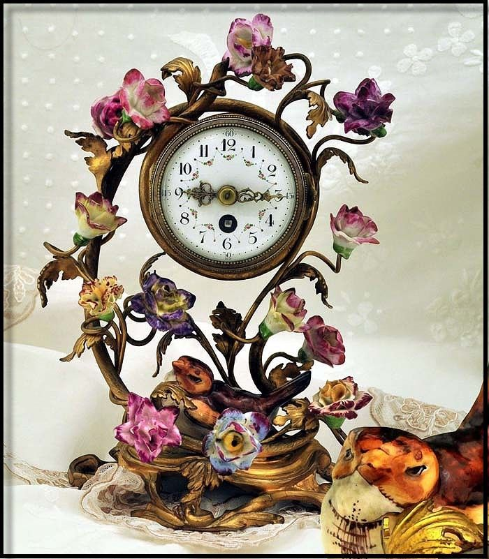 Antique Ormolu & Porcelain Clock Decorated with Amazing Flowers Bird. French, late 19th c.