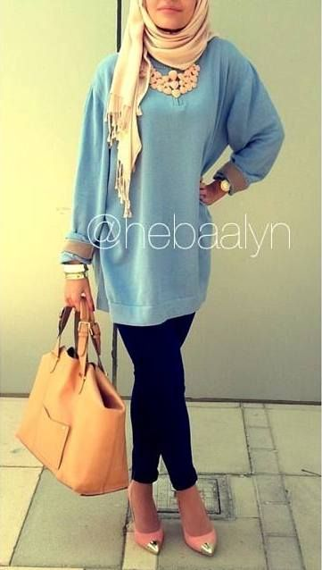 @hebaalyn Blue loose top. Pointed heels. Dressy casual Hijabi fashion