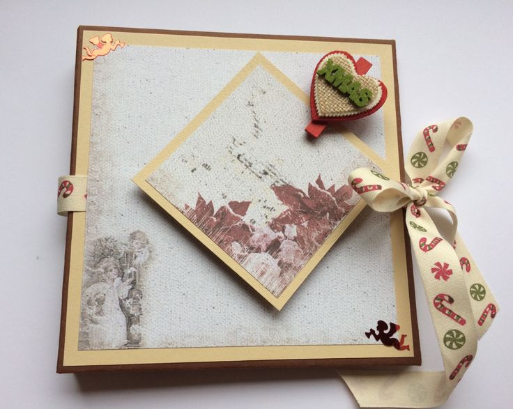 Christmas scrapbook mini album 15/15cm a perfect gift for Christmas by HomemadeTreasuresss on Etsy