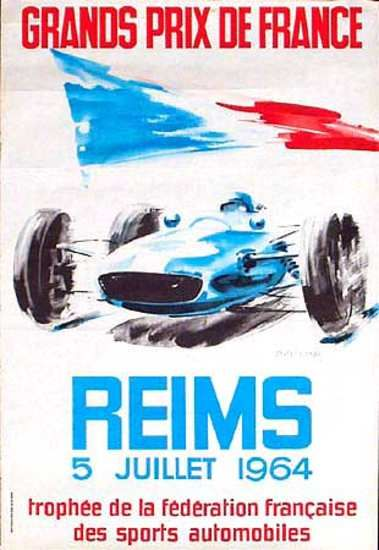 Vintage French GP Formula 1 Poster from 1964 #F1 #SMDriver