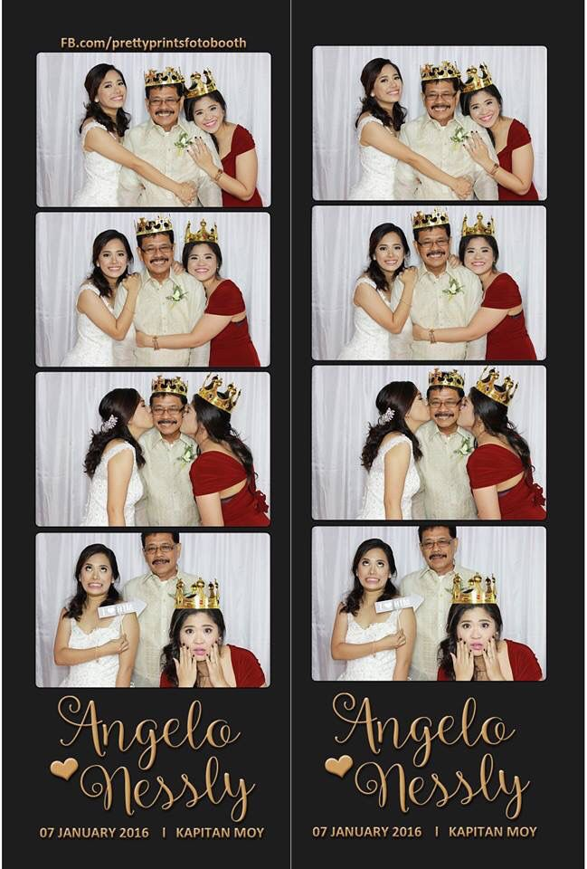 Photostrip layout. We used this as our wedding souvenir for guests. One copy for them and the other for our guestbook.   Design created by me (the bride). I used basic colors to achieve the classic photobooth look. Just simple white background and bronze text, no distractions from the photos itself.