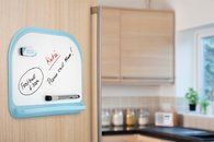 If you don't have space for a memo board, or can't knock in picture hooks, this magnetic whiteboard is a real asset. Comes with pen and eraser, as well as low-tack sticky tape to fix to cupboards/back of doors. Can be removed without damage.