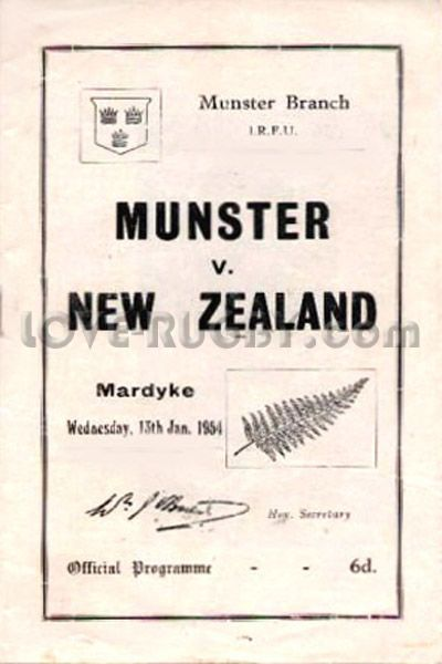 #rugby Today 13/01 in 1954 - Munster 3-6 New Zealand - All Blacks rugby programme from Mardyke