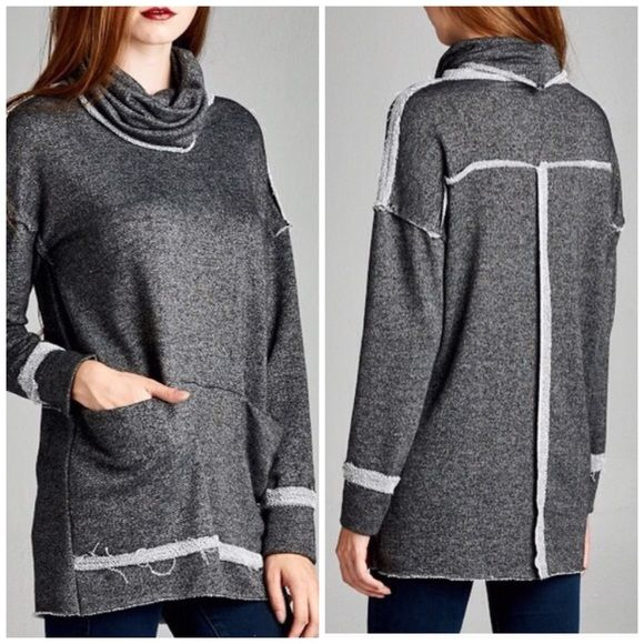 French Terry Raw Edge Tunic I love the casual yet updated look of this soft raw edge french Terry tunic . Cowel neck detail . Exposed seams. 2 pockets . Gray only . Please comment for personal listing sizes S M L available Vivacouture Sweaters