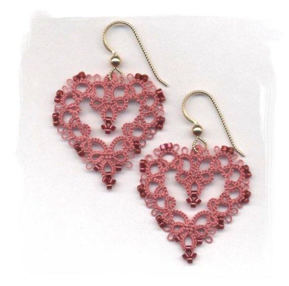 Tatted Heart Earrings ETSY