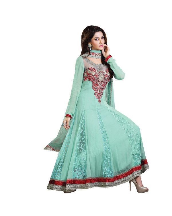 Light Blue Lace Work Salwar Suit  To know more or buy, please click Below:- http://www.ethnicstation.com/light-blue-lace-work-salwar-suit-ro1051  #LaceWorkSalwarSuit ##EthnicWear
