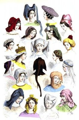 Medieval female hats and hairstyles of the 15th and 16th centuries.