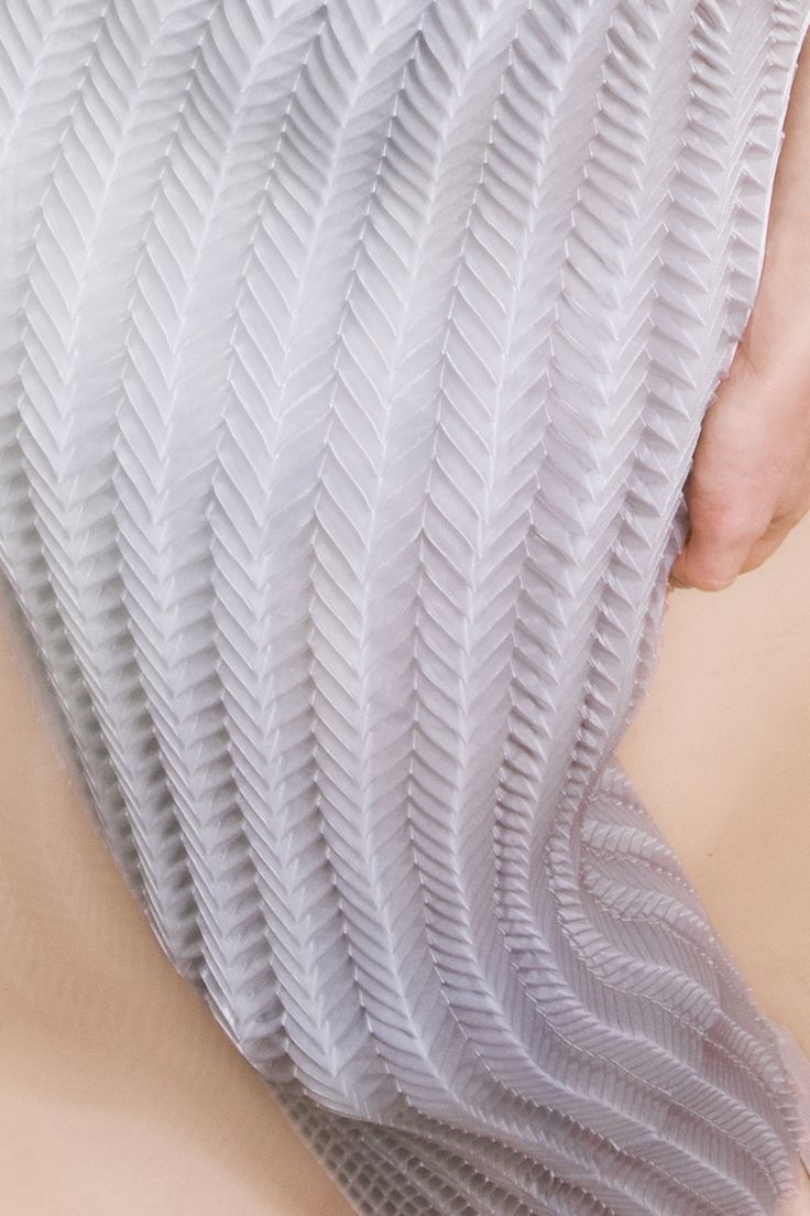 Pleated dress with repeating 3D patterns & textures -  structural fabric manipulation for fashion; textiles techniques // Janjique