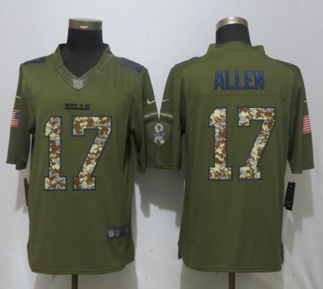 detailed look 967a1 408a2 Nike Bills 17 Josh Allen Army Green Salute To Service ...