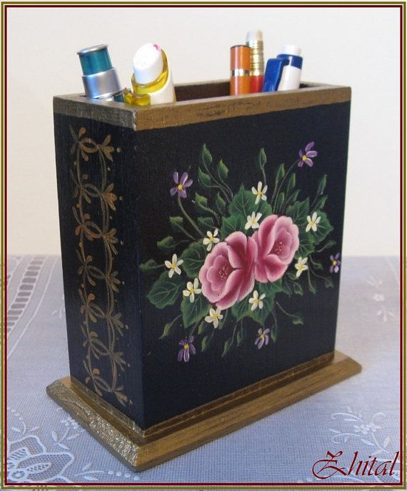 STAND FOR PENS Office organizer Gift Pencil stand Pencil holder Roses  Original Acrylic painting One stroke. 3895 best Decorative Folk Art   Patterns images on Pinterest