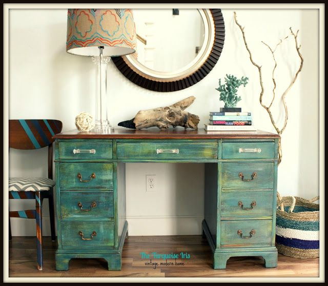 The Turquoise Iris: Teal Distressed Antique Desk with Re-Finished Mahogany Top