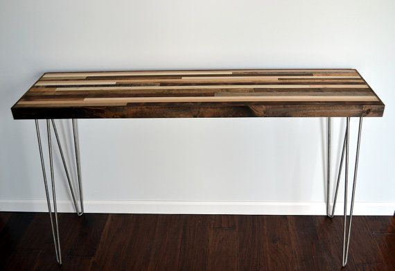 Console Table with Hairpin legs Wood Table by moderntextures