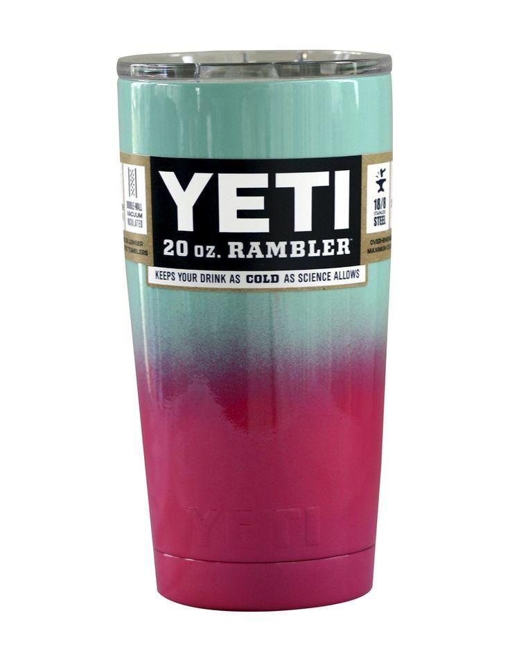 Seafoam Pink Ombre Fade Yeti 20 oz Rambler Tumbler