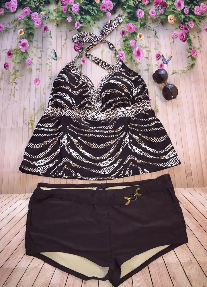 Women's Faded Glory 2 Piece Tankini Brown White Swimsuit Plus Size 2X  | eBay