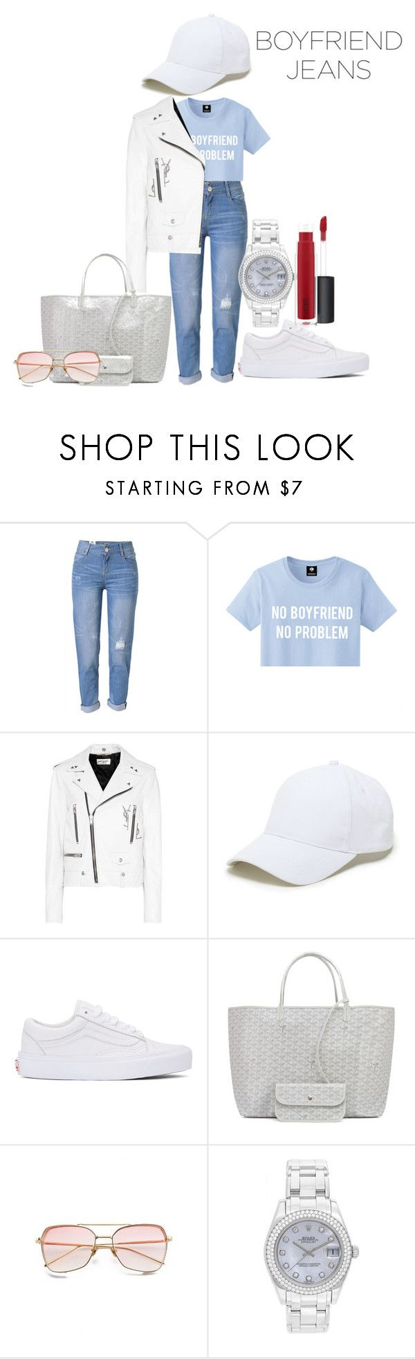 """No boyfriend!"" by babyanj ❤ liked on Polyvore featuring WithChic, Yves Saint Laurent, Sole Society, Vans, Goyard, Rolex and MAC Cosmetics"
