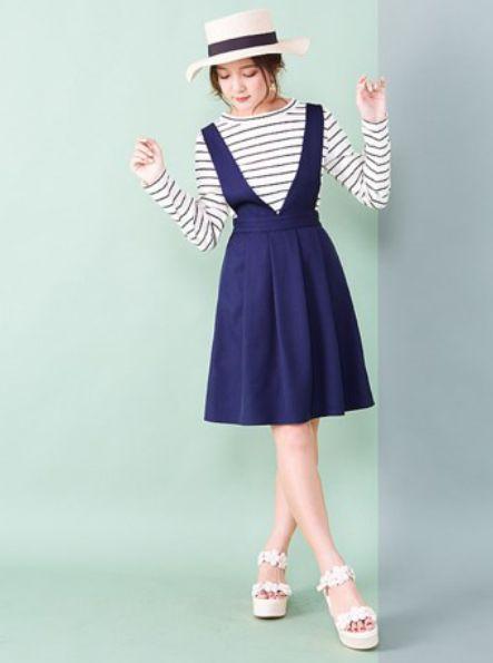高校生 ファッション 女子 夏 ジャンスカワンピースコーデ